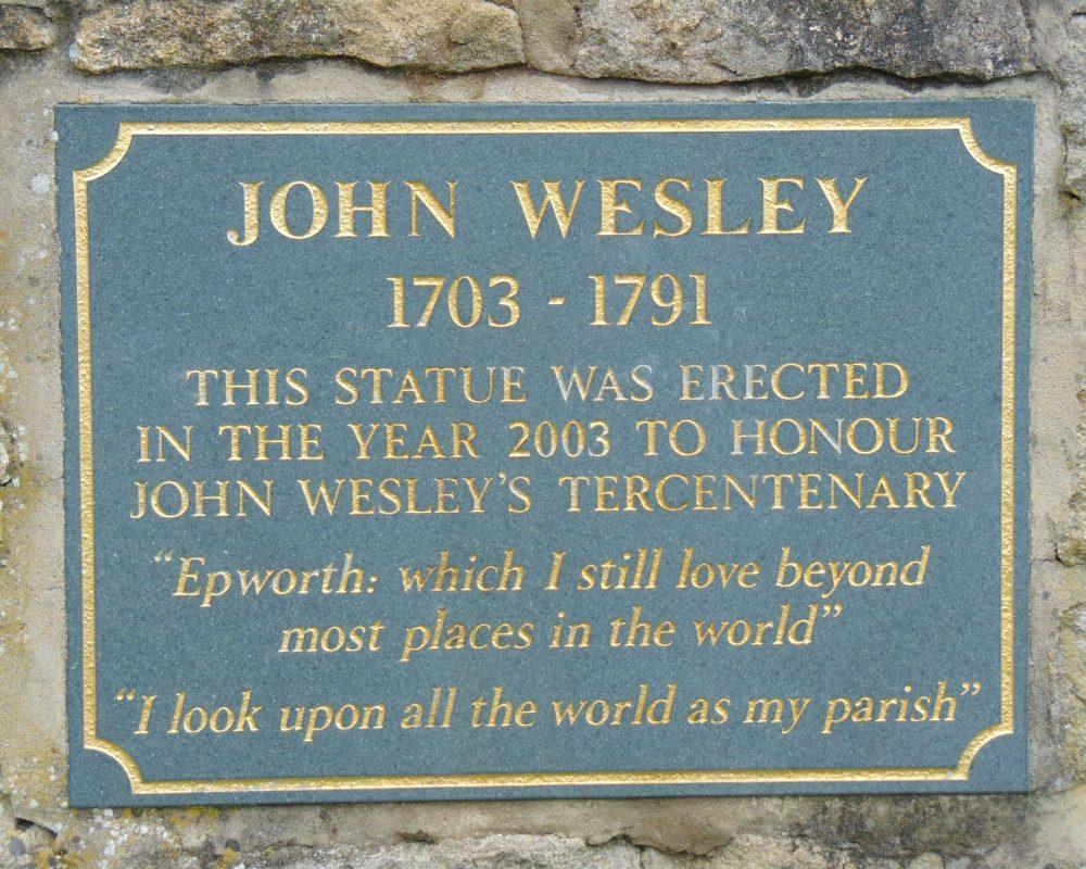John Statue plaque Wesley Trail