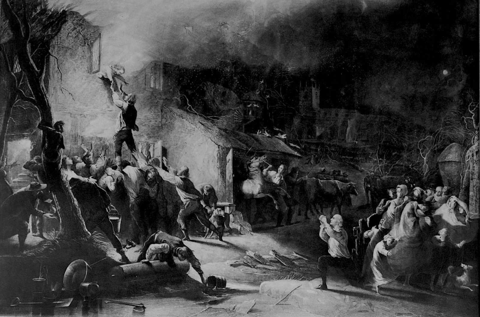 John Wesley rescued from fire, black and white picture